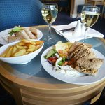  Sandwiches, Wine and a Portion of Chips