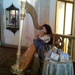 harpist playing in the lobby