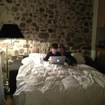 Our couch turned into a bed for a night's stay for two grandsons