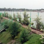 The entire Riverside Resort is surrounded with a 10 ft height dam,which allows a pathway on the