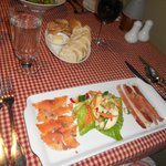  our salad with house smoked salmon and duck