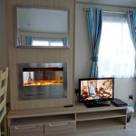  Tv, fire and dining area