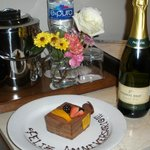 Anniversary cake and champagne sent up by Maria Elenar