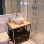 Luxurious bathroom with power shower! Great!