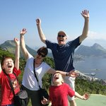 Family 'shout' at para-sailing launch site in Niteroi outside Rio