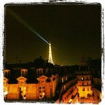  View from the room over the Eiffel tower by night
