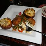 Crab Cakes (appetizer) with side order of twice baked potato