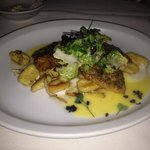 Crusted snapper with homemade gnocchi and olive lemon reduction !!