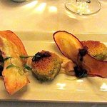  Herb crusted sweet potato - Sweet potato puree, pickled pear, truffle dressing