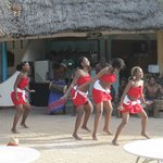 African dance group in the pool/bar area