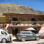 Front of Pisac Inn, sit on the balcony and watch the market activities!