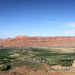 Looking down from Slickrock, its the clump of trees lower right with Colorado River in the dista