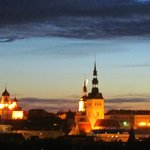Sunset over the old city Tallinn from Olumpia 2