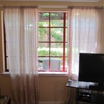 See through curtains in living room with no blinds