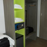 Closet, safe, mini-fridge.