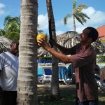 Guy cutting a coconut for my husband to drink