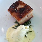 Pork belly, mustard ice cream, sea beans