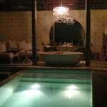 pool and bathroom by night