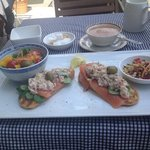 smoked salmon and tuna on garlic ciabatta outside on a sunny lunchtime. Delicious.