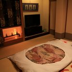 staff will come helping put the futon when you are away for dinner/hot spring