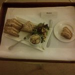 Tuna and Mayo sandwich, room service with crisps and salad