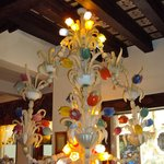 Venetian Glass Chandelier by Entrance