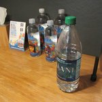 Giant Dasani from supermarket $1.69 or little in-room water for $3-$5??? You decide.