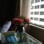 Fresh flowers in room.