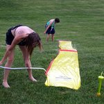 Setting up a slip n slide can be hard work!
