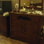 brown tv unit and drawers