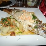 Local trout with prawns for dinner - huge and very tasty!