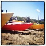 On the beach ready to paddle. Moss Landing Power Plant in the background.