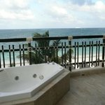 Jacuzzi on our balcony and view of the ocean