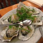 Oysters with garlic oil vermicelli and chives
