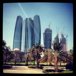 View of Etihad towers from the Emirates palace
