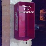 Many Missing Fire extingushers in hotel corridors
