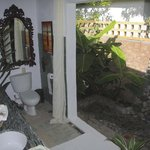 Papaya bathroom with outdoor shower