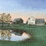 Painting of pond, farmhouse, and barn
