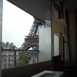 View from bed against window, Eiffel Tower View room 719