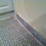 Unclean grout in the bathroom