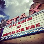 Looking up at the front sign of Stax Museum