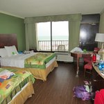 Room and view of beach from balcony.  Includes nice-sized refrigerator and microwave.