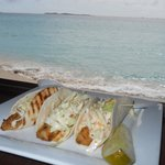 Mahi Mahi tacos on the beach