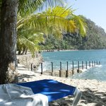 You have to check out the private beach area and enjoy the scenery, water and drinks!