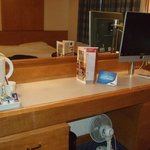 Desk, kettle and tv
