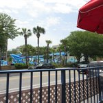Water park view from ice cream shop on resort