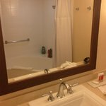 A view of the decent sized, but boring bathroom.