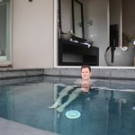 My husband the most relaxed in years our private plunge pool
