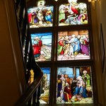 Stained glass window on stairwell