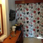 The TV and minibar from the doorway. The curtains are lined on the back so the room gets nice an